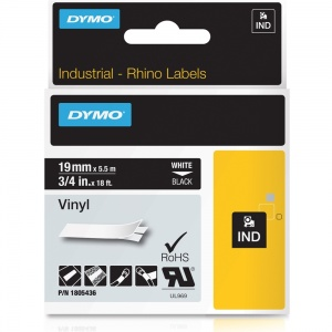 Dymo Rhino 1805436 White on Black Vinyl Tape - 19mm