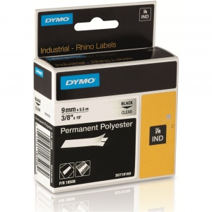 Dymo Rhino 18508 Black on Clear Polyester Tape - 9mm