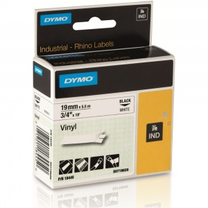 Dymo Rhino 18445 Black on White Vinyl Tape - 19mm
