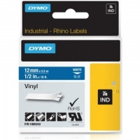 Dymo Rhino 1805243 White on Blue Vinyl Tape - 12mm