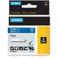 Dymo Rhino 1805417 White on Blue Vinyl Tape - 19mm