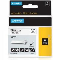 Dymo Rhino 1805430 Black on White Vinyl Tape - 24mm
