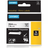 Dymo Rhino 1805433 Black on Clear Polyester Tape - 24mm