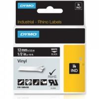 Dymo Rhino 1805435 White on Black Vinyl Tape - 12mm
