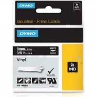 Dymo Rhino 1805437 White on Black Vinyl Tape - 9mm