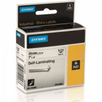 Dymo Rhino S0773860 Black on White Self Laminating Tape - 24mm