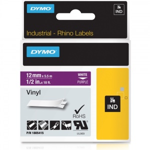 Dymo Rhino 1805415 White on Purple Vinyl Tape - 12mm