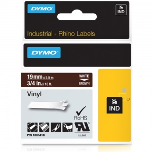 Dymo Rhino 1805418 White on Brown Vinyl Tape - 19mm