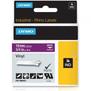 Dymo Rhino 1805421 White on Purple Vinyl Tape - 19mm