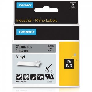 Dymo Rhino 1805425 Black on Grey Vinyl Tape - 24mm