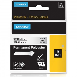 Dymo Rhino 1805440 Black on Clear Polyester Tape - 6mm