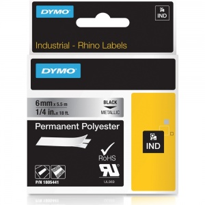 Dymo Rhino 1805441 Black on Metallic Polyester Tape - 6mm