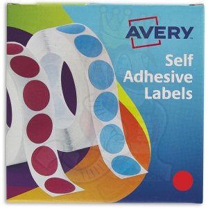 Avery Labels in Dispenser Round 19mm Diameter Red 24-506 (1120 Labels)