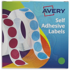Avery Labels in Dispenser Round 19mm Diameter Green 24-507 (1120 Labels)