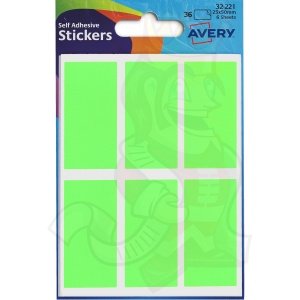 Avery Coloured Labels Packet 25x50mm Green 32-221 (10 Packs of 36 Labels)