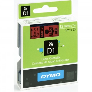 Dymo 45017 Black On Red - 12mm
