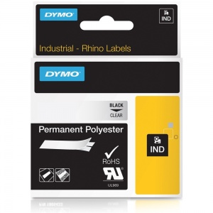Dymo Rhino 622290 Black on Clear Polyester Tape - 19mm