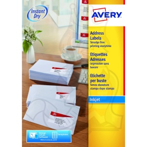 Avery Inkjet Address Labels 63.5x72mm J8164-100 (1200 Labels)