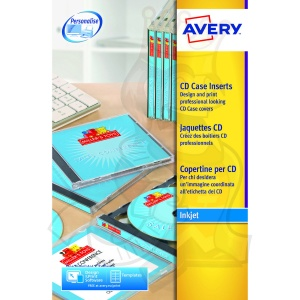Avery CD Case Insert Inkjet 151x118mm J8435-25 (25 Labels)