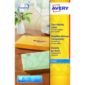 Avery Clear Inkjet Labels 99x34mm J8562-25 (400 Labels)