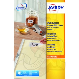 Avery Removable Labels 96x63.5mm L4745REV-25 (200 Labels)