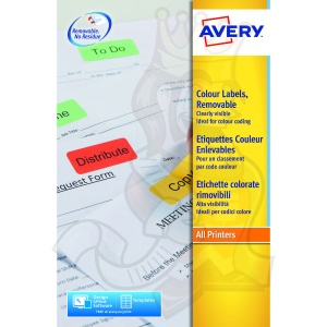 Avery Coloured Labels 63.5x34mm Red L6034-20 (480 Labels)