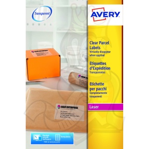 Avery Clear Laser Labels 99x67.7mm L7565-25 (200 Labels)