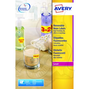 Avery High Vis Round 63.5mm Diameter Yellow  L7670Y-25 (300 Labels)
