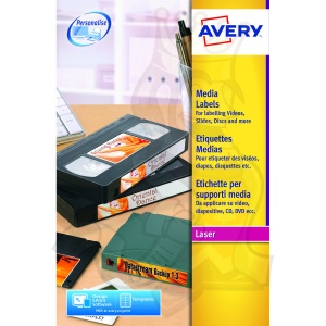 Avery Video Face Label Laser 76.2x46.4mm L7671-25 (300 Labels)