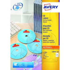 Avery FullFace CD Laser 117mm Diameter White L7676-100 (200 Labels)