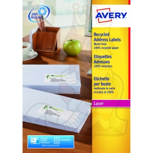 Avery QuickPEEL Recycled Laser Address Labels 63x38mm LR7160-100 (2100 Labels)