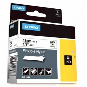 Dymo Rhino 18758 / 18488 Black on White Flexible Nylon Tape - 12mm