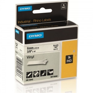 Dymo Rhino 18443 Black on White Vinyl Tape - 9mm
