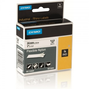 Dymo Rhino S0773840 Black on White Flexible Nylon Tape - 24mm