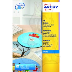 Avery Full Face CD Label Glossy 117mm Diameter C9660-25 (50 Labels)
