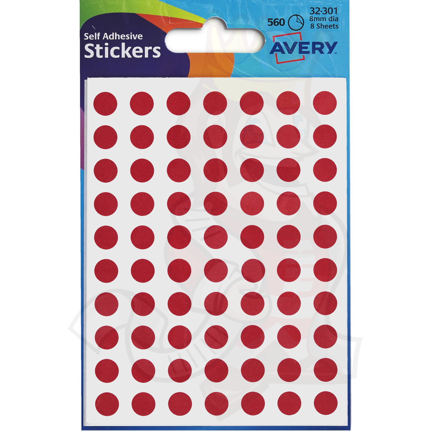 avery coloured labels round 8mm diameter red 32 301 10 packs of 560