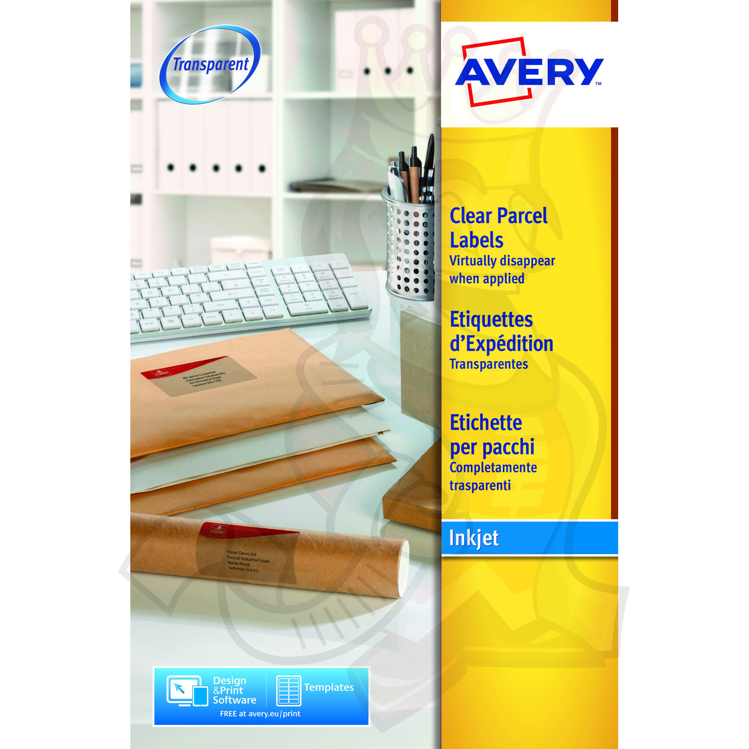 avery clear inkjet labels 210x297mm j8567 25 25 labels label king