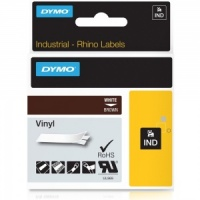 Dymo Rhino 1805412 White on Brown Vinyl Tape - 12mm