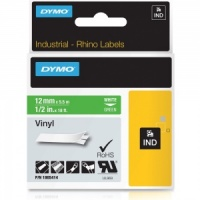 Dymo Rhino 1805414 White on Green Vinyl Tape - 12mm