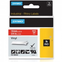 Dymo Rhino 1805422 White on Red Vinyl Tape - 19mm