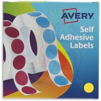 Avery Labels in Dispenser Round 19mm Diameter Yellow 24-508 (1120 Labels)