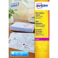 Avery Mini Laser Labels 38x21mm White L7651-100 (6000 Labels)