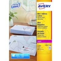 Avery Mini Laser Labels 38x21mm White L7651-250 (16250 Labels)